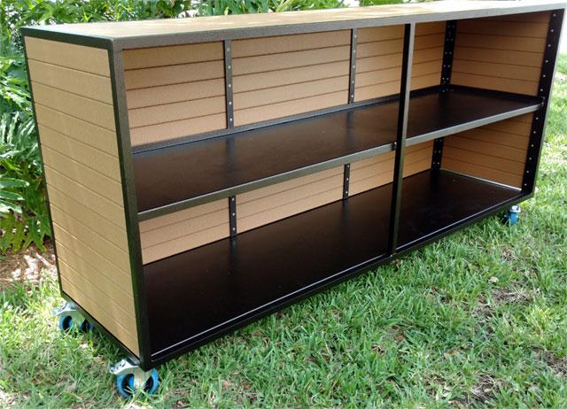 Faux Wood Two Shelf Bar
