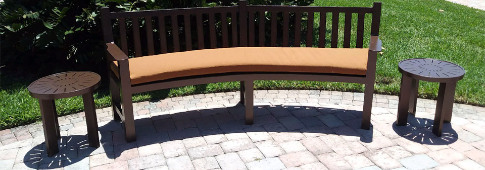 Curved Bench with side tables