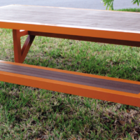 Custom Faux Teak Picnic Table With Attached Seats